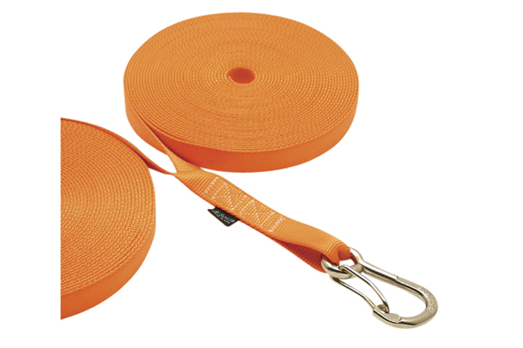 Double Jackline with Clip - Orange, nylon webbing, stainless steel heavy duty harness clip, C0240-0035-O, C0240-0045-O, C0240-0055-O