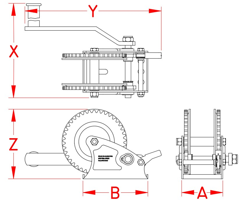 Stainless Steel Trailer Winch, C0270-0001, C0270-2001, Specifications