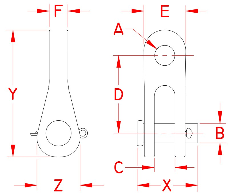 Bronze Rigging Toggle, S0168-BZ07, S0168-BZ10, S0168-BZ12, S0168-BZ16, Line Drawing