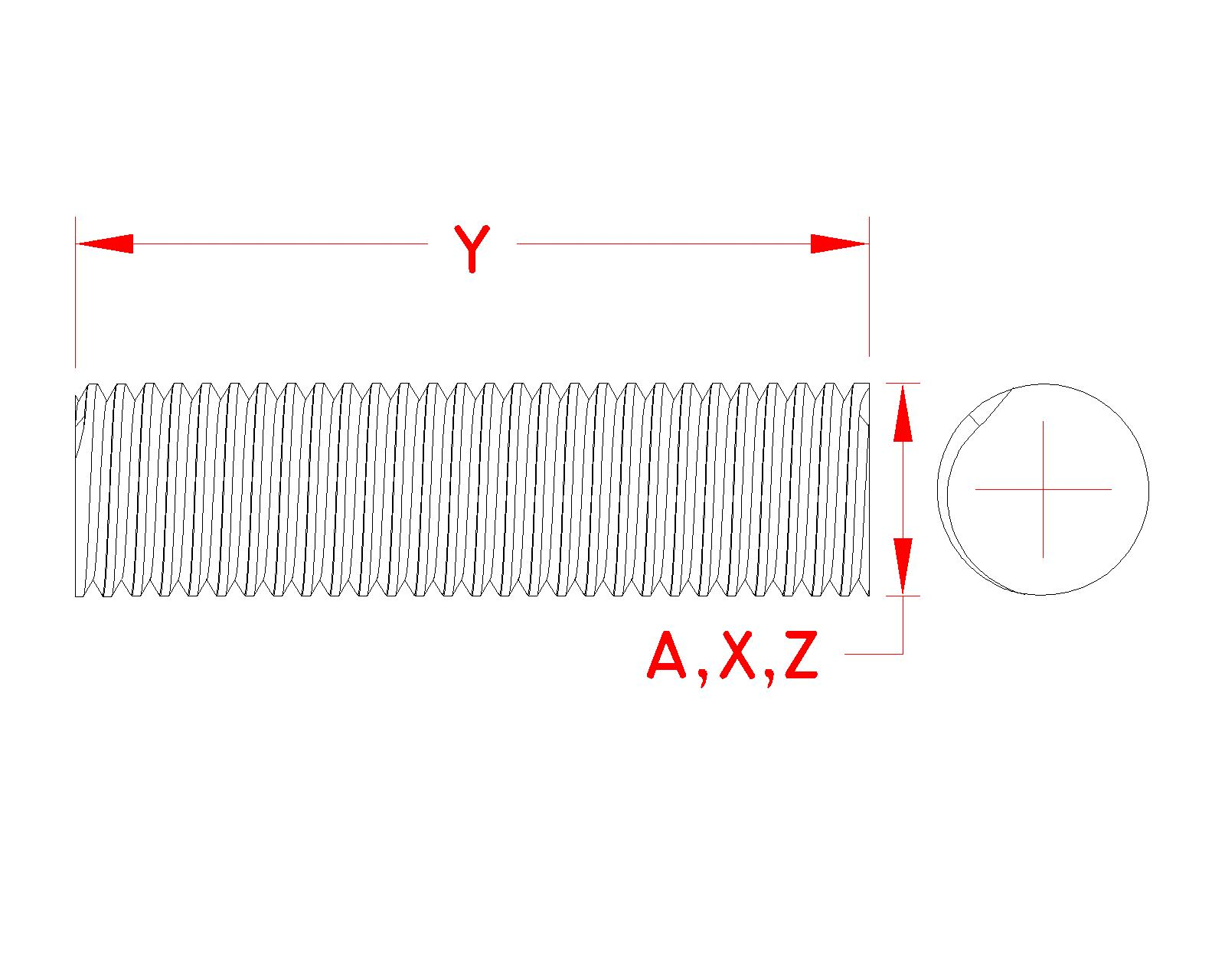 Stainless Steel Threaded Rod, S0300-0, Line Drawing