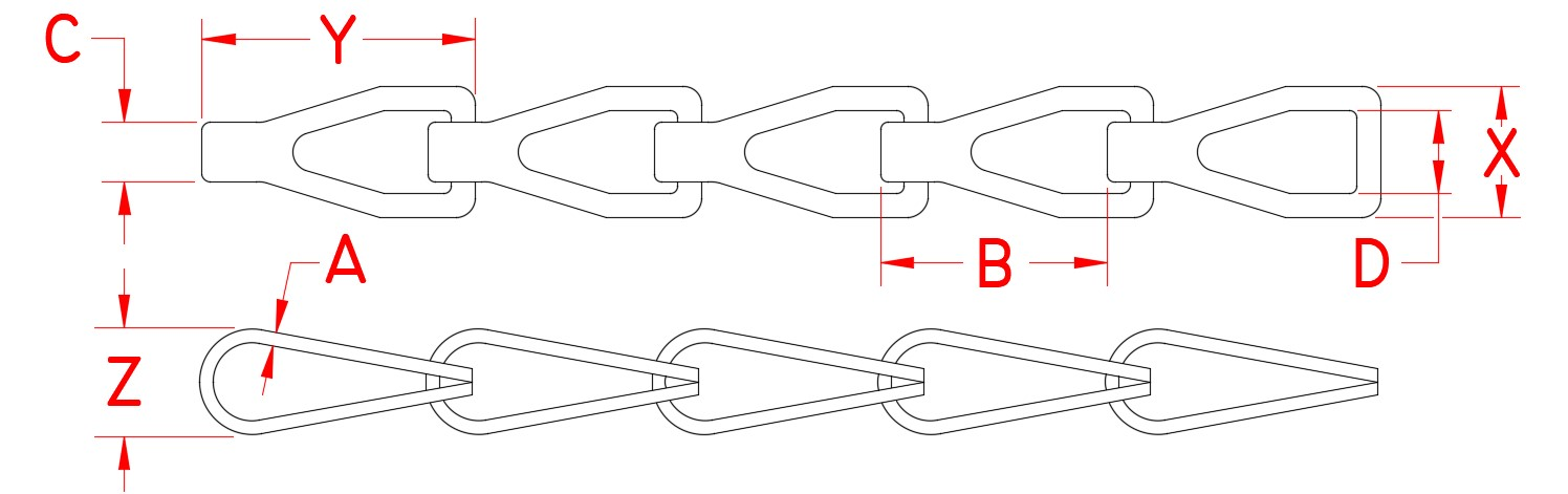 Stainless Steel Sash Chain, S0631-0, Line Drawing