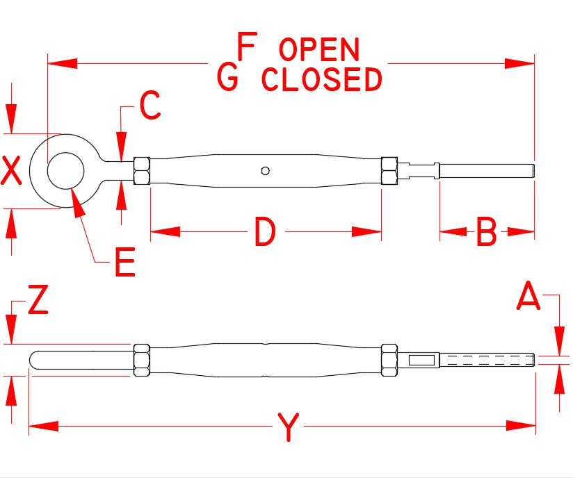 Stainless Steel Gate Eye & Hand Swage Stud - Closed Body, Turnbuckle, S0794-H0703, S0794-H0705, Line Drawing
